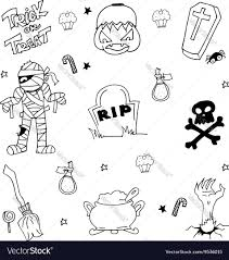 doodle of halloween mummy tomb pumpkins zombie vector image