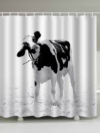 Cow Print Kitchen Curtains 2018 Water Resistant Milk Cow Print Shower Curtain White W Inch L