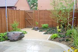 exterior garden backyard landscaping with wooden fence with home
