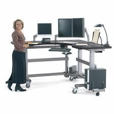 Height Adjustable Corner Desk by Medical Computer Workstation Radiology Height Adjustable