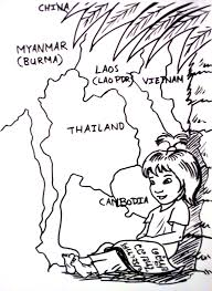 thai coloring page colouring page thai child kid cartoon