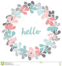 hello pastel vector wreath on white background stock vector