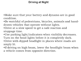 When To Use Parking Lights Traffic Rules For Drivers Ppt Online Download
