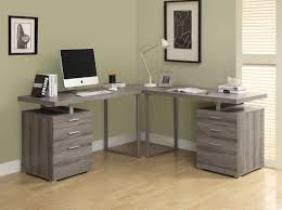 monarch specialties reclaimed dark taupe l shaped corner desk