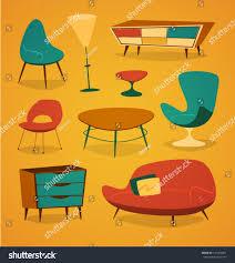 household furniture retro styled modern furniture household series stock vector