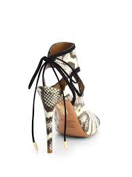 lyst aquazzura thing snakeskin cutout sandals in black
