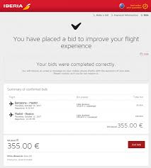 my bid fabulous fridays bidding for a business class upgrade on iberia