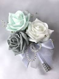 mint green corsage corsage mint green white grey roses artificial wedding