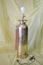 One Of A Kind Home Decor by Fire Extinguisher Lamp Light Upcycled Brass Original Art One