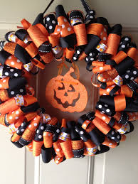 katie u0027s ribbon wreaths halloween candy corn ribbon wreath