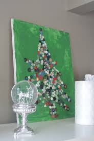 easy kids christmas craft u2013 button christmas tree on canvas