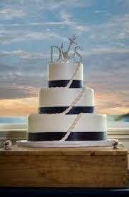 nautical wedding cake fondant navy ribbon wooden dock for