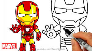 how to draw iron man step by step chibi marvel superhero youtube