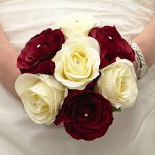 burgundy roses burgundy and ivory bridesmaid s handtied