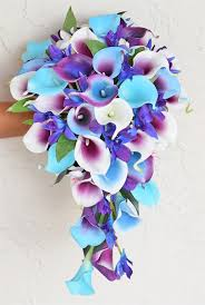 blue orchids touch purple blue orchids and callas silk cascading bouquet