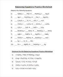 sample balancing equations worksheet templates 9 free documents