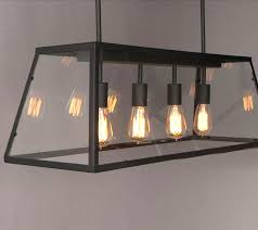 Rectangular Shade Chandelier Loft Iron And Clear Glass Shade Chandelier 7606 Browse Project