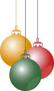 abstract vector christmas balls hanging with ribbons on white