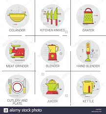 cooking utensils kitchen equipment appliances set icon stock