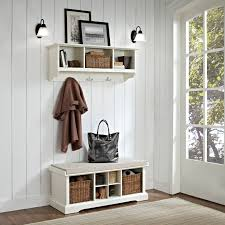 fresh small entry bench from white wooden material in cool rustic