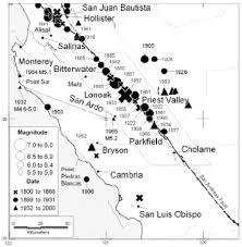 San Andreas Fault Line Map San Andreas Fault Zone California M 5 5 Earthquake History