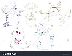 set cats cats party hand drawn stock vector 387981784 shutterstock