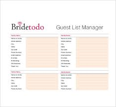 Wedding Guest List Excel Template Wedding Guest List Wedding Guest List With Tulips Microsoft