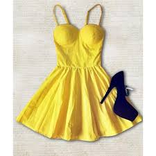 casual straps solid color vintage dress for women deep yellow m