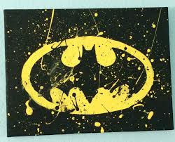batman canvas painting yellow black batman bat paint