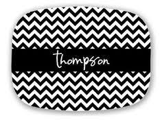 monogrammed serving platter yellow ribbon fabric dots pattern monogram porcelain