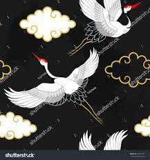 seamless pattern flying birds crane heron stock vector 685815781