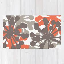 floral rug coral and brown flowers area rug modern