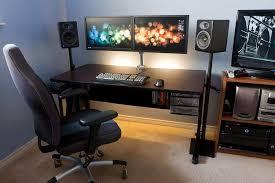 Pc Desk Setup Diy Pc Desk Mods Neat Dual Dell Monitor Pc Desk Setup