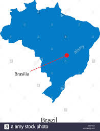city map of brazil detailed vector map of brazil and capital city brasilia stock
