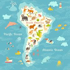 South America Map by Animals World Map South America Illustrations Creative Market