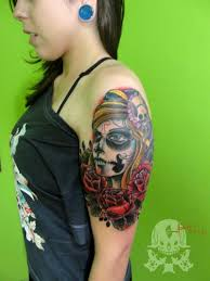 dia de los muertos tattoo on shoulder for girls tattoos book