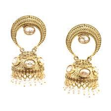 jhumki style earrings in gold ethnic indian gold plated jhumka chandelier earring foe