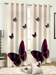 cortina curtains multicolor butterfly print eyelet window door