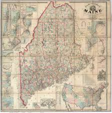 map of maine map of maine 1862 wall map print