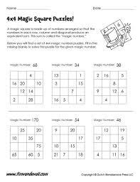 4x4 magic square puzzles math printables pinterest 4x4