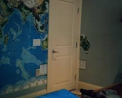 pottery barn wallpaperlady s blog as this world map mural worked its way around the wall australia got cut off by the door