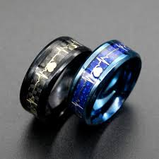 blue steel rings images Titanium steel ring carbon fiber ecg pattern men rings black blue jpg