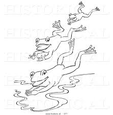 historical vector illustration of a 3 frogs jumping into a pond