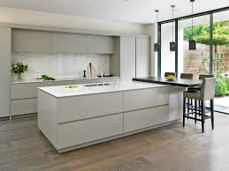 White Kitchen Design by Sleek Handleless Kitchen Design With Large Island U0026 Breakfast Bar
