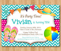 design free pool party invitation blank template with quote