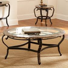 coffee table steve silver gallinari oval marble and glass top