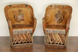 Vintage Leather Chairs Sold Southwest Pair Of Mexican Aztec Motif Painted Leather