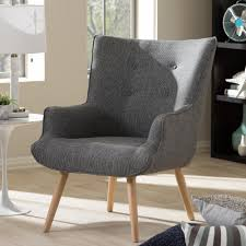 Accent Armchair Baxton Studio Nola Mid Century Gray Fabric Upholstered Accent