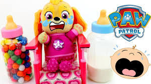 baby learn colors funny baby skye paw patrol baby toy gumballs