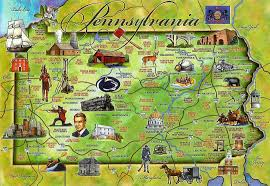 Usa Tourist Attractions Map by Tourist Illustrated Map Of Pennsylvania State Vidiani Com Maps